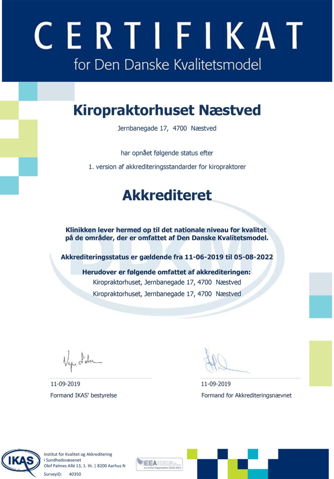 Kiropraktorhuset Næstveds Akkrediterings Certifikat for Den Danske Kvalitetsmodel